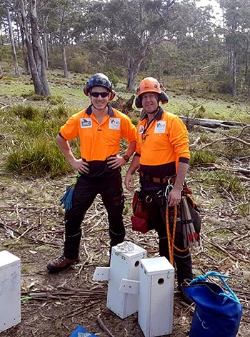 Troy and Russell with swift parrot nesting boxes